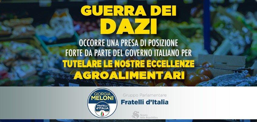 La guerra dei dazi rischia di colpire i prodotti italiani. FDI accusa il governo di immobilismo